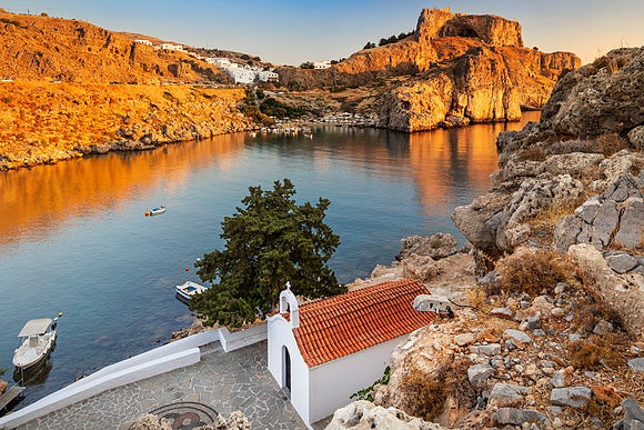 Rhodes and Chalki Island Stock Images