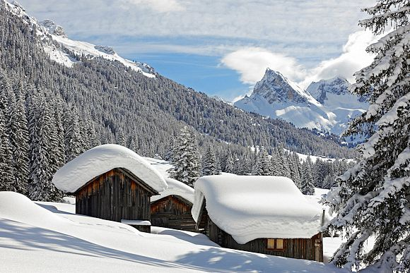Winter wonderland in majestic Dolomites